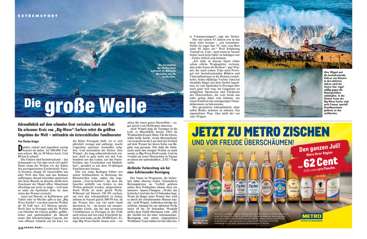 "Article published in ""Krone bunt"" (Sunday-supplement of the Kronen Zeitung; reach of 2.7 million readers), 15th of July 2018"